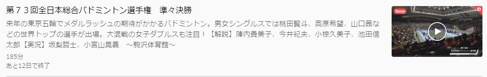 全日本総合バドミントン選手権2019準々決勝U-NEXTキャプチャ,画像